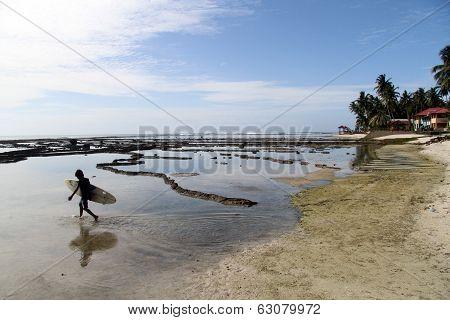 Serfer Walking On The Beach