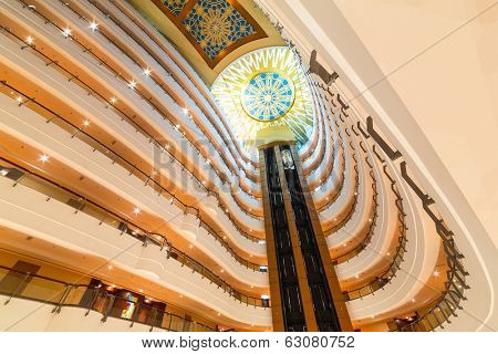 ABU DHABI, UAE - MARCH 25: Lobby and elevators of Khalidiya Palace by Rotana on March 25, 2014, UAE. Rotana Hotel Management Corporation has 85 properties in 26 cities around Middle East and Africa.