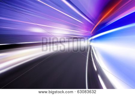 Abstract image of night lights in the city with motion blur