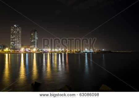 Promenade Of Barcelona By Night