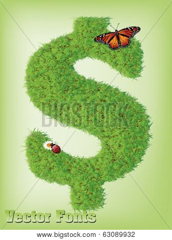 dollar grass sign vector