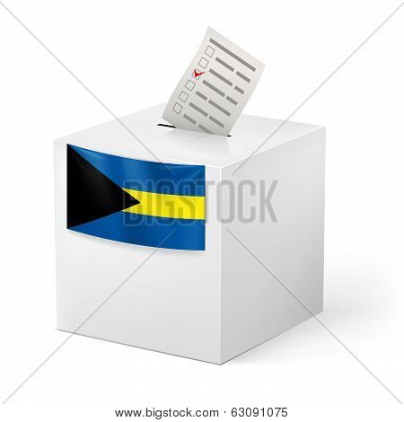 Ballot box with voting paper. Commonwealth of the Bahamas