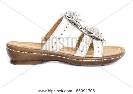 White Leather Flip Flop Sandals