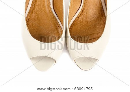 Bone White Open Toe Dress Shoes