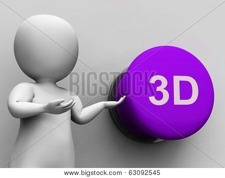3D Button Means Three Dimensional Object Or Image