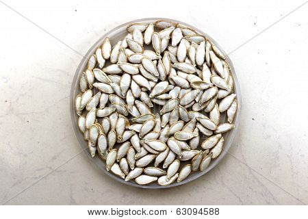 closeup of pumpkin seeds on an isolated background