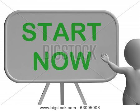 Start Now Whiteboard Means Begin Today And Immediately
