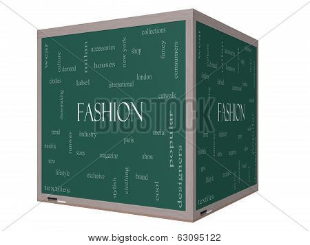 Fashion Word Cloud Concept On A 3D Cube Blackboard