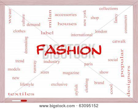Fashion Word Cloud Concept On A Whiteboard