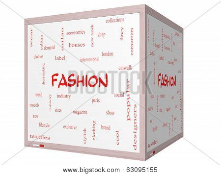 Fashion Word Cloud Concept On A 3D Cube Whiteboard