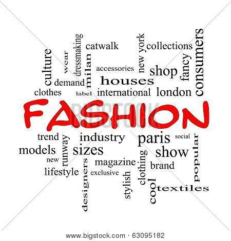 Fashion Word Cloud Concept In Red Caps