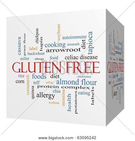 Gluten Free 3D Cube Word Cloud Concept