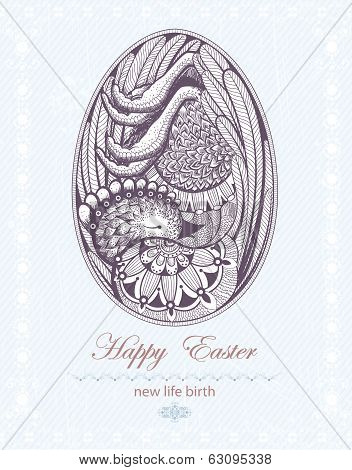 Easter Egg with chicken embryo. New life birth.