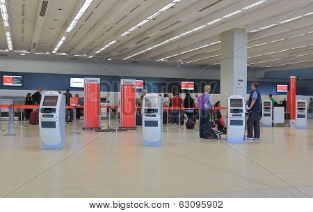 Airport check in counter Quantas