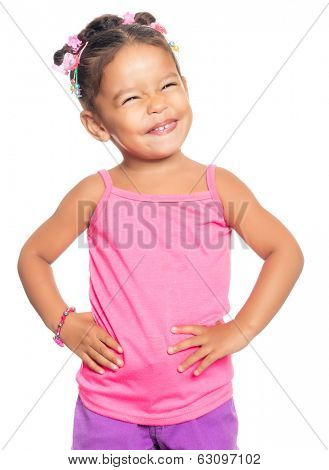 Cute multiracial small girl with a funny expression isolated on a white background