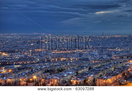 Aerial View Of Illuminated Tehran Skyline At Night