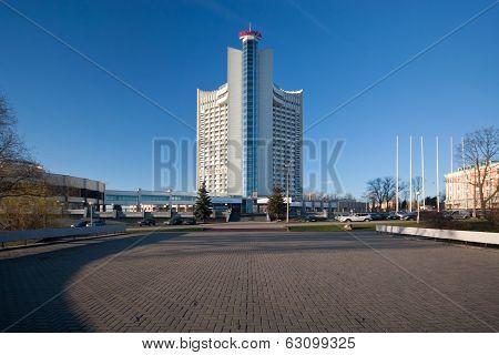 Hotel Belarus, Minsk. Shown on March day 2014