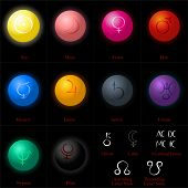 stock photo of node  - Illustrations of the ten astrological planets as colorful shiny spheres - JPG