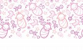 pic of baby doll  - Vector baby girls horizontal border seamless pattern background with hand drawn elements - JPG