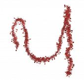 Christmas red tinsel decoration.