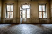 stock photo of abandoned house  - old windows in a dilapidated abandoned building - JPG