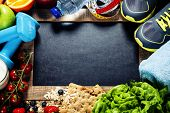 stock photo of exercise  - Different tools for sport and diet food  - JPG