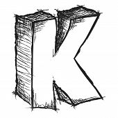 image of letter k  - Sketchy hand drawn letter K isolated on white - JPG