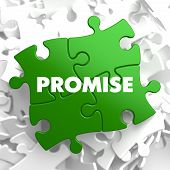 stock photo of promises  - Promise on Green Puzzle on White Background - JPG