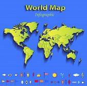 World map infographic political map individual states blue green card paper 3D raster