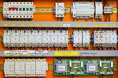 pic of fuse-box  - Control panel with static energy meters and circuit - JPG
