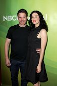 LAS VEGAS - APR 8:  Eddie McClintock, Joanne Kelly at the NBCUniversal Summer Press Day at Huntingto