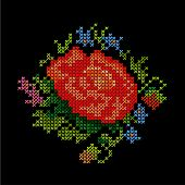 Embroidery, Vintage Flower Bouquet Cross Stitch