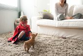 pic of puppies mother dog  - Cute superhero child and mother spending time together in the living room playing with dog - JPG