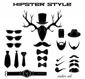 Hipster accessory pictograms collection