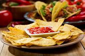picture of nachos  - plate of nachos with salsa on wooden table - JPG