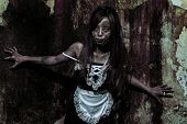 stock photo of revenge  - The Scary Maid ghost story in haunted house - JPG