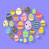 Easter Eggs Icon Set On A Purple