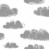 Grey clouds grunge prints on white sky seamless pattern, vector