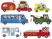 picture of ice-cream truck  - illustration of funny cartoon of transportation isolated - JPG