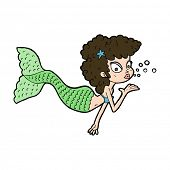 cartoon mermaid blowing kiss