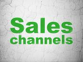 Marketing concept: Sales Channels on wall background