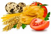 foto of egg noodles  - egg noodles pasta tomato slice tomatoes ears of wheat fresh parsley leaf and quail egg on a white background - JPG