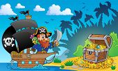picture of pirate sword  - Pirate theme with treasure chest 2  - JPG