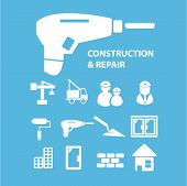construction, repair icons, vector