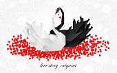 Couple origami swans Valentines background