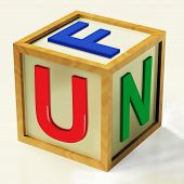 Fun Block Shows Enjoyment Playing And Recreation
