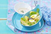 stock photo of sorrel  - spring potato salad with sorrel green pea and eggs - JPG