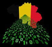 Belgium map flag with binary foreground illustration