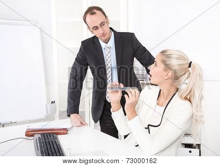 Secretary making manicure at office - surprised boss - dismissal.
