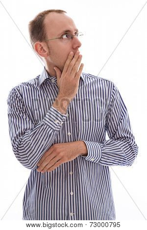 Shocked man - isolated on white - in blue and white striped shirt